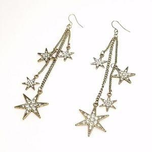 Gold Rhinestone Cascading Star Celestial Earrings